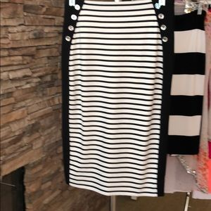 Stripe skirt back zipper